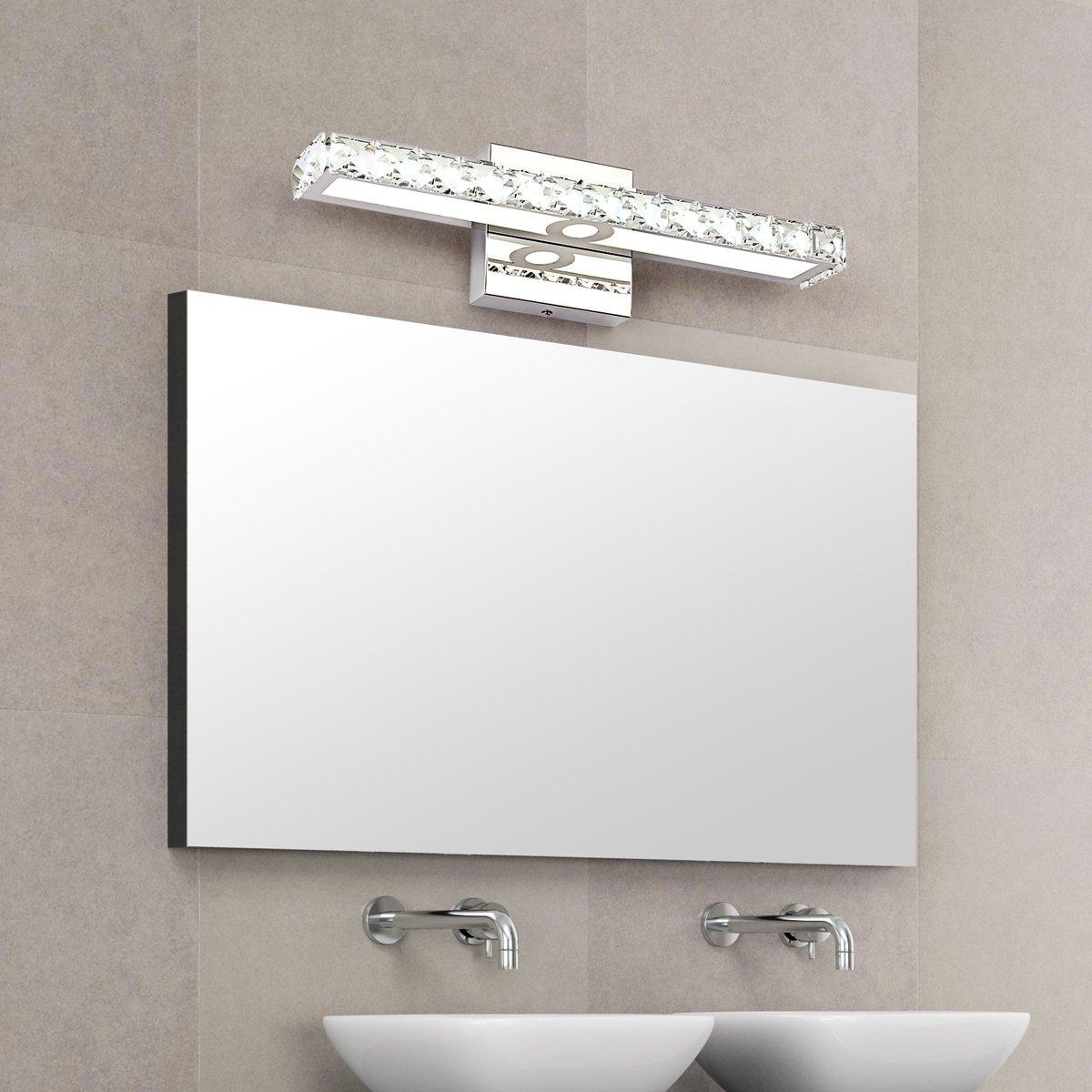 JUSHENG 16W Bathroom Vanity Light, LED Crystal Bathroom Light Fixtures Up Mirror Light, 16W 1500 Lumen Bathroom Bedroom Lighting (Transparent Daylight White)