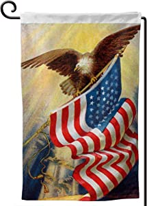 Vintage Memorial Day Independence USA Flag Decorative Garden Flag, Double-Sided Printing 4th of July American Bald Eagle Holiday Flag for Garden, Courtyards, Home, Outdoor 12.5 X 18 Inch (White)