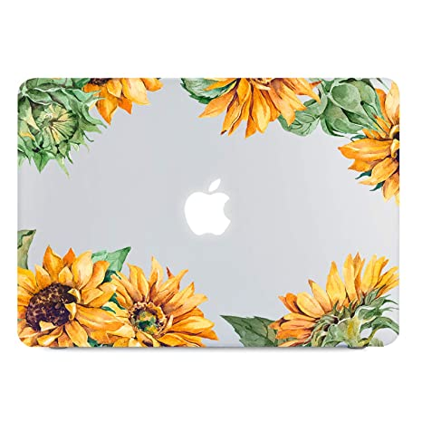 online store bad0f 4e781 Sunflower Clear Case Compatible MacBook Air 13 Inch 2018 Release Model:  A1932 with Retina Display Fits Touch ID, Soft Tough Frosted See Through ...