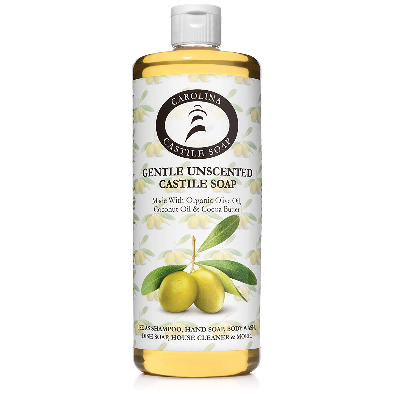 Castile Soap Liquid Unscented - 32 oz - Vegan & Pure Organic Soap - Carolina Castile Soap - Concentrated Non Drying All Natural Formula Good For Sensitive Skin