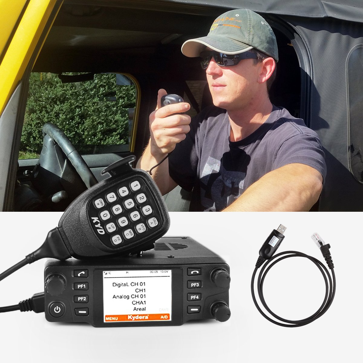 Kydera CDM-550H DMR 400-430 440-480Mhz UHF Large LCF Display 40W 25KM Digital Car Radio Ham Transceiver, with Programming Cable & Software by KYDERA (Image #8)