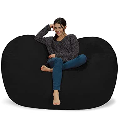 Chill Sack Bean Bag Chair: Huge 6' Memory Foam Furniture Bag and Large Lounger - Big Sofa with Soft Micro Fiber Cover - Black