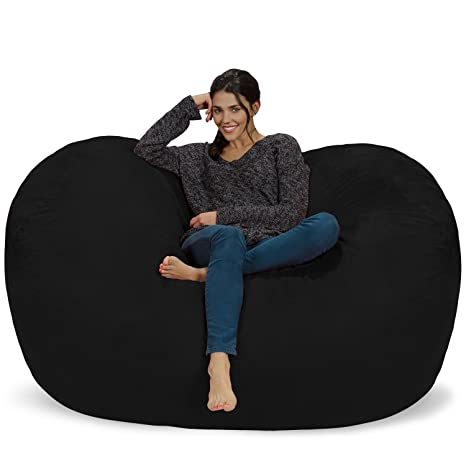 Chill Sack Bean Bag Chair: Huge 6 Memory Foam Furniture Bag and Large Lounger - Big Sofa with Soft Micro Fiber Cover - Black