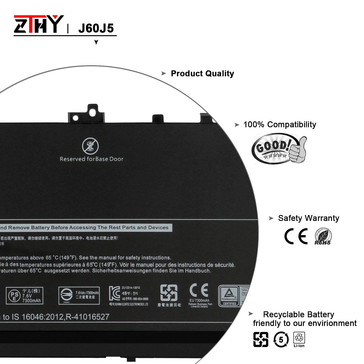 ZTHY J60J5 Laptop Battery Replacement for Dell Latitude E7270 E7470 Series Notebook R1V85 451-BBSX 451-BBSY 451-BBSU MC34Y 242WD PDNM2 7.6V 55WH by ZTHY (Image #3)