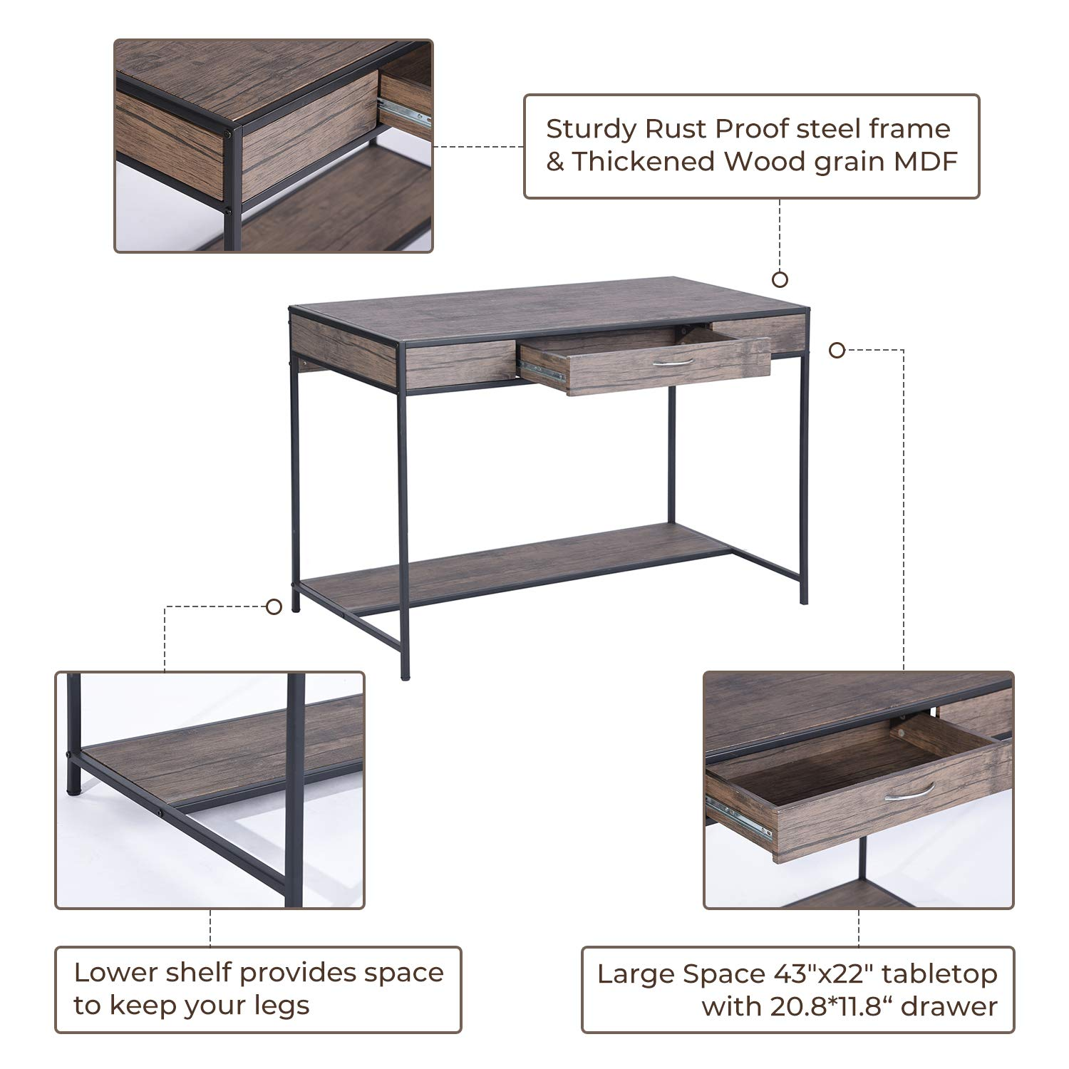 Aingoo Computer Writing Desk with Drawers,Home Office Rustic Metal MDF Wood Mid Century Large PC Table for Brown Farmhouse (Brown) by Aingoo (Image #2)