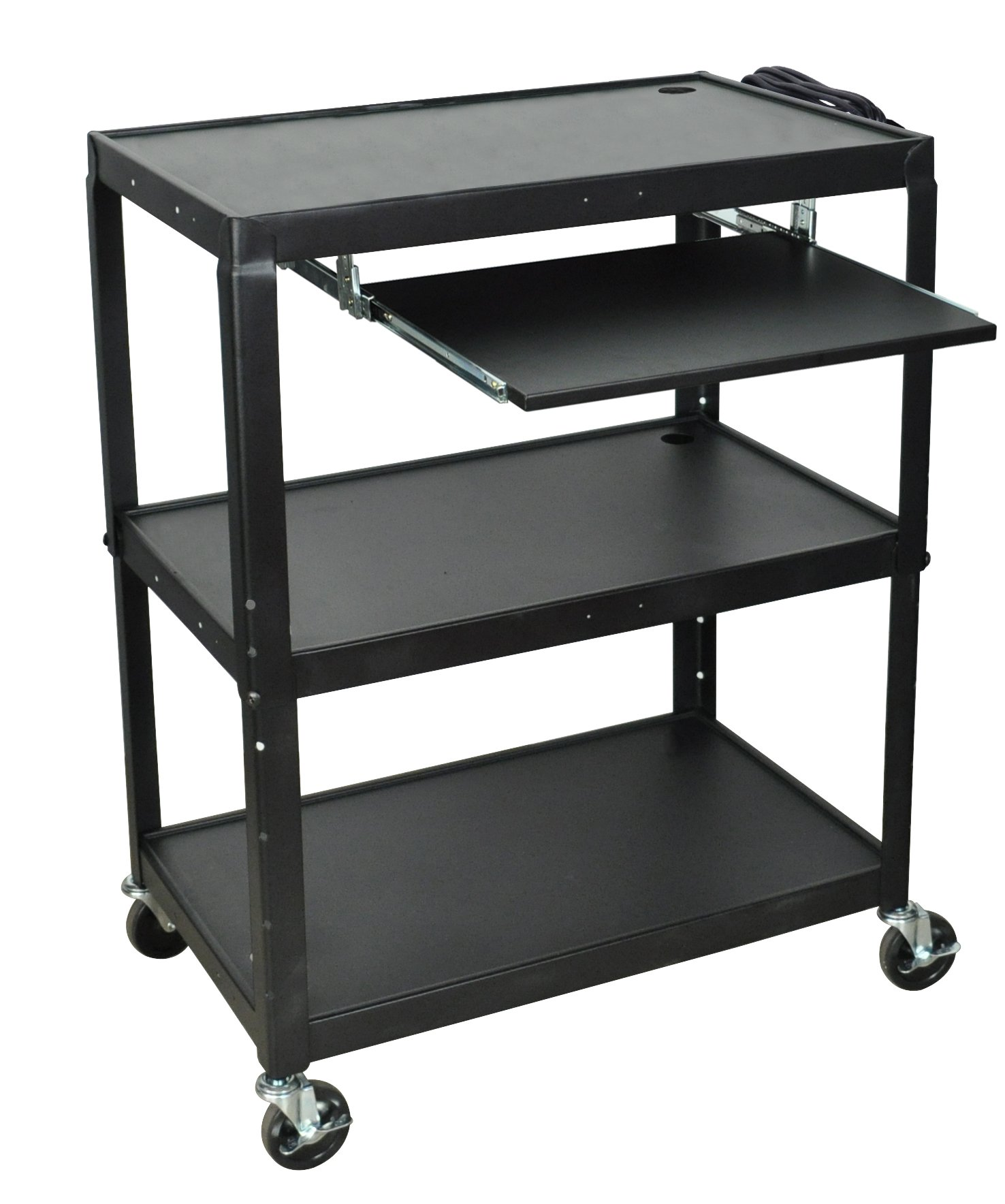 LUXOR AVJ42XLKB A/V Cart with Pullout Keyboard Shelf, Extra Wide, Adjustable Height, Steel by Luxor