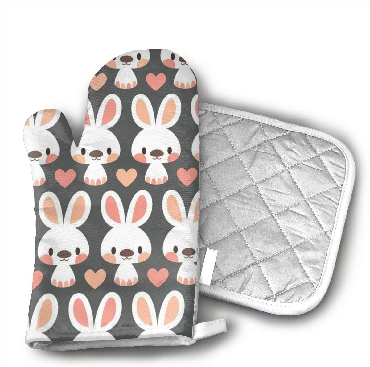 Cute Little Bunnies Oven Mitts and Potholders (2-Piece Sets) - Kitchen Set with Cotton Heat Resistant,Oven Gloves for BBQ Cooking Baking Grilling