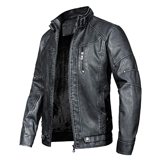 Wantdo Mens Vintage PU Leather Jacket Windproof Outwear Coat