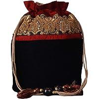 Velvet Embellished Black Potli Bag