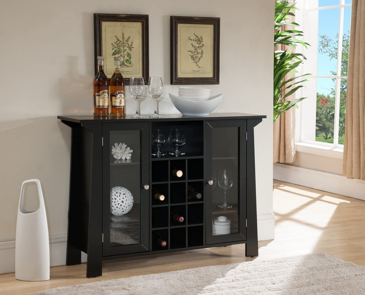 Kings Brand Furniture Matanuska Wood Buffet Bar Cabinet with Wine Storage, Black