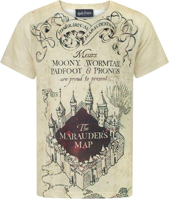 Harry Potter - Camiseta con diseño del Mapa del Merodeador para niños y niñas: Amazon.es: Ropa y accesorios