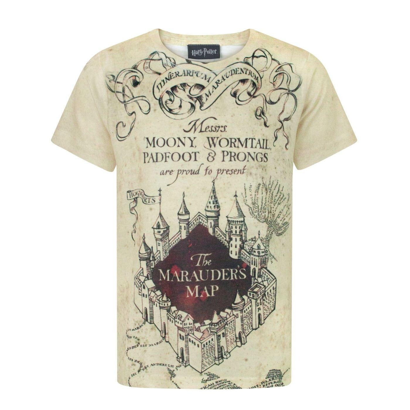Harry Potter Childrens Boys Marauders Map Sublimation T-Shirt
