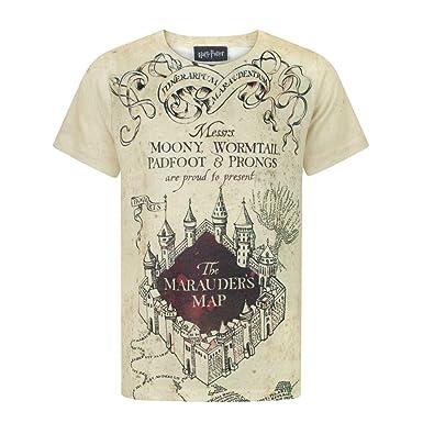 b0d92ffb4 Harry Potter - Camiseta con diseño del Mapa del Merodeador para niños y  niñas  Amazon.es  Ropa y accesorios