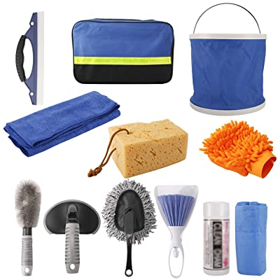 HighFree 11pcs Car Cleaning Kit with Bag for Interior and Exterior Cleaning Including Tire Brush/Wash Sponge/Duster/Wash Cloths/Window Water Scraper/Deel Towel/Collapsible Bucket/Wash Glove: Automotive