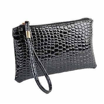 b441bdd9b539 Brezeh Small Bag Women Crocodile Leather Clutch Handbag Bag Coin Purse (one  size, Black)