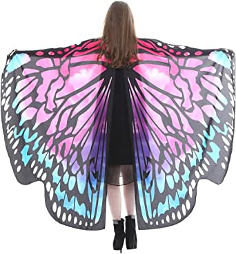 FEOYA Halloween Butterfly Wings Shawl Fairy Pixie Colorful Cape Dance Party Costume