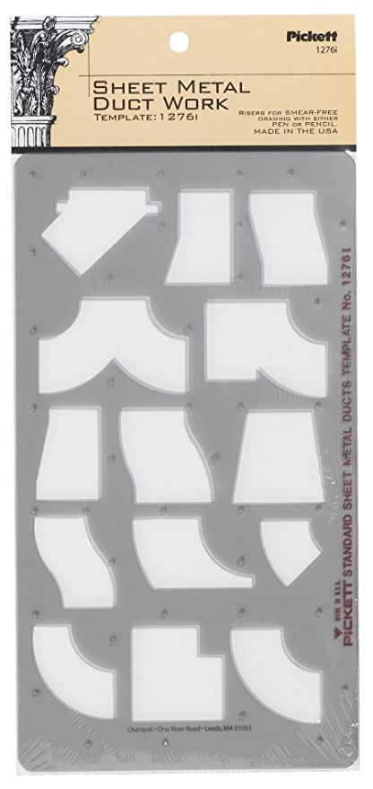 amazon com : pickett sheet metal duct work template (1276i) : technical drawing  templates : office products