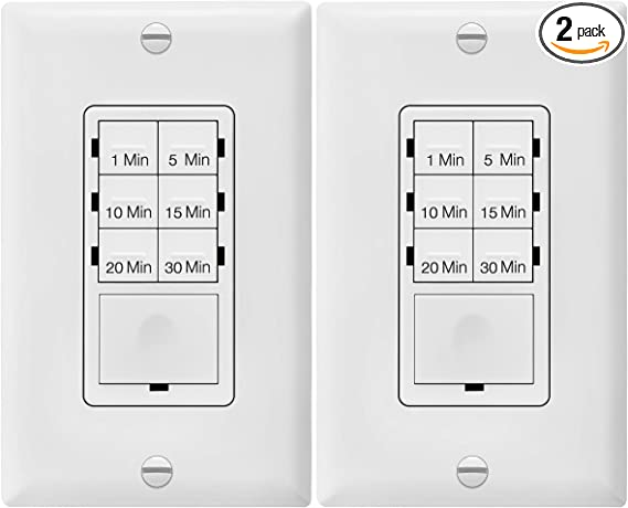 Enerlites Countdown Timer Switch For Bathroom Fans And Household Lights 1 5 10 15 20 30 Min Settings With Manual Override Always On Blue Led Neutral Wire Required Ul Listed Het06a White 2 Pack Amazon Com