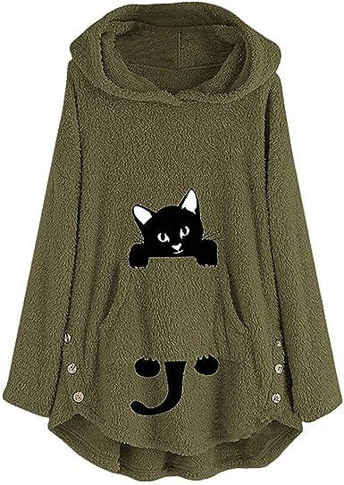 ESAILQ-Capa Sudadera con Capucha y Estampado de Gato Bordado para Mujer Talla Grande Sudadera con Capucha Top Blusa: Amazon.es: Ropa y accesorios