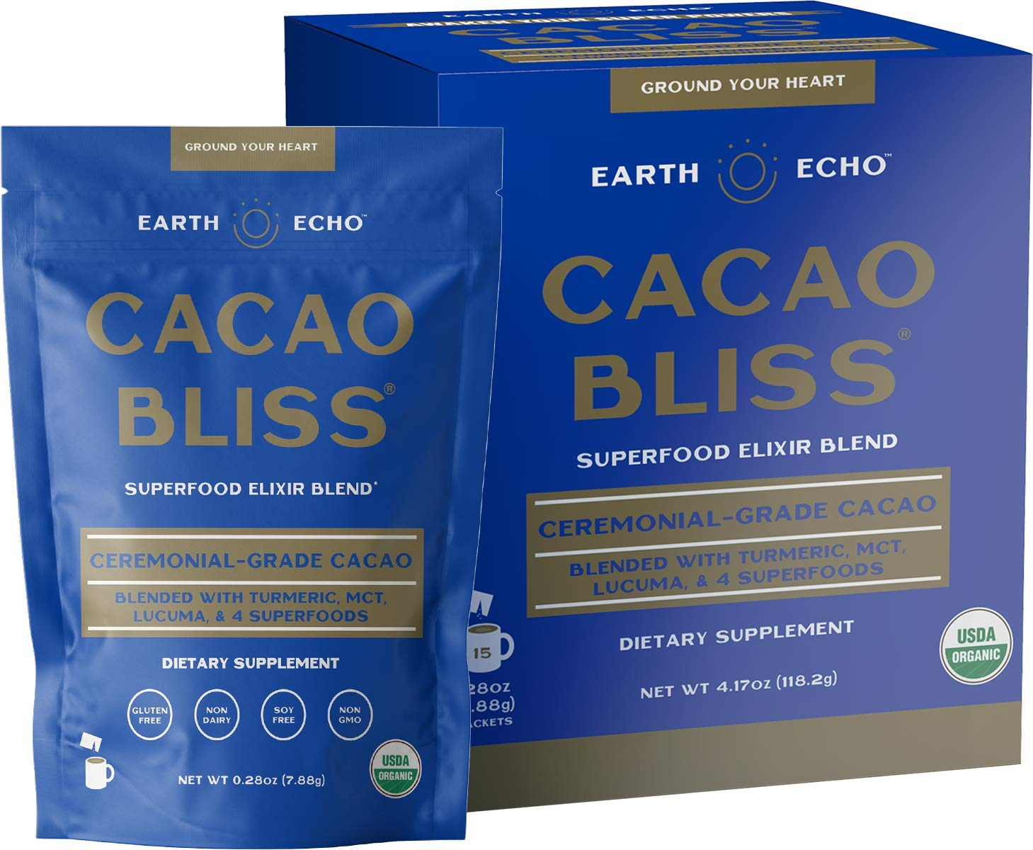 Earth Echo: Cacao Bliss - Organic Chocolate Powder Mix with Cinnamon, Turmeric, MCT Oil and Lucuma for Hot Cocoa, Smoothies and More - 15 Travel-Sized Servings - Daily Health and Energy Support