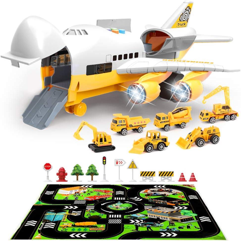 LBLA Coches Juguete para Niños,Juegos de Construcción Camión Transportador,Juego de Vehículos con Play Mat,Camiones de Juguetes para Niños 3 años