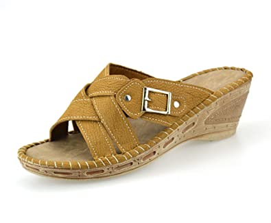 e63fe25e59 Ladies Womens New Mid Wedge Heel Casual Summer Slip On Mules Sandals Shoes  Size[UK