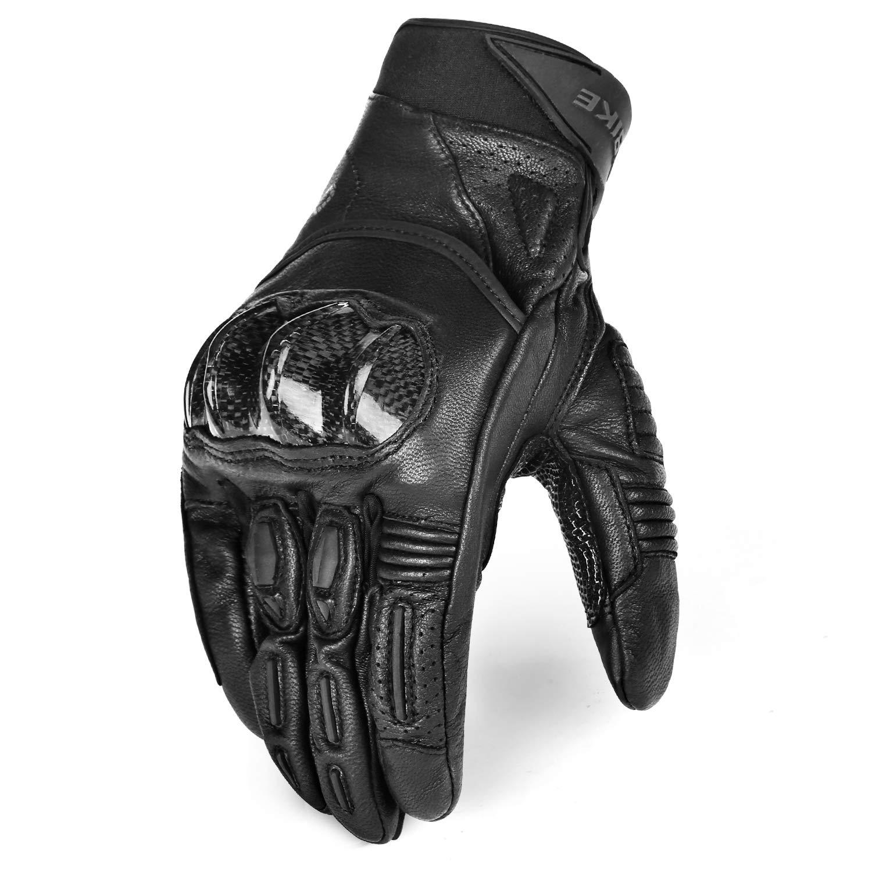INBIKE Guanti da Moto Pretettivo Resistente Pelle Sportivo Ciclismo Imbottiti 3D Gel Motorino Vintage (Nero&M) IM808-BK-M