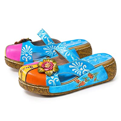 gracosy Leather Slipper, Women's Oxford Slipper Vintage Slip-Ons Mule Clog Colorful Flower Backless Loafer Shoes | Loafers & Slip-Ons