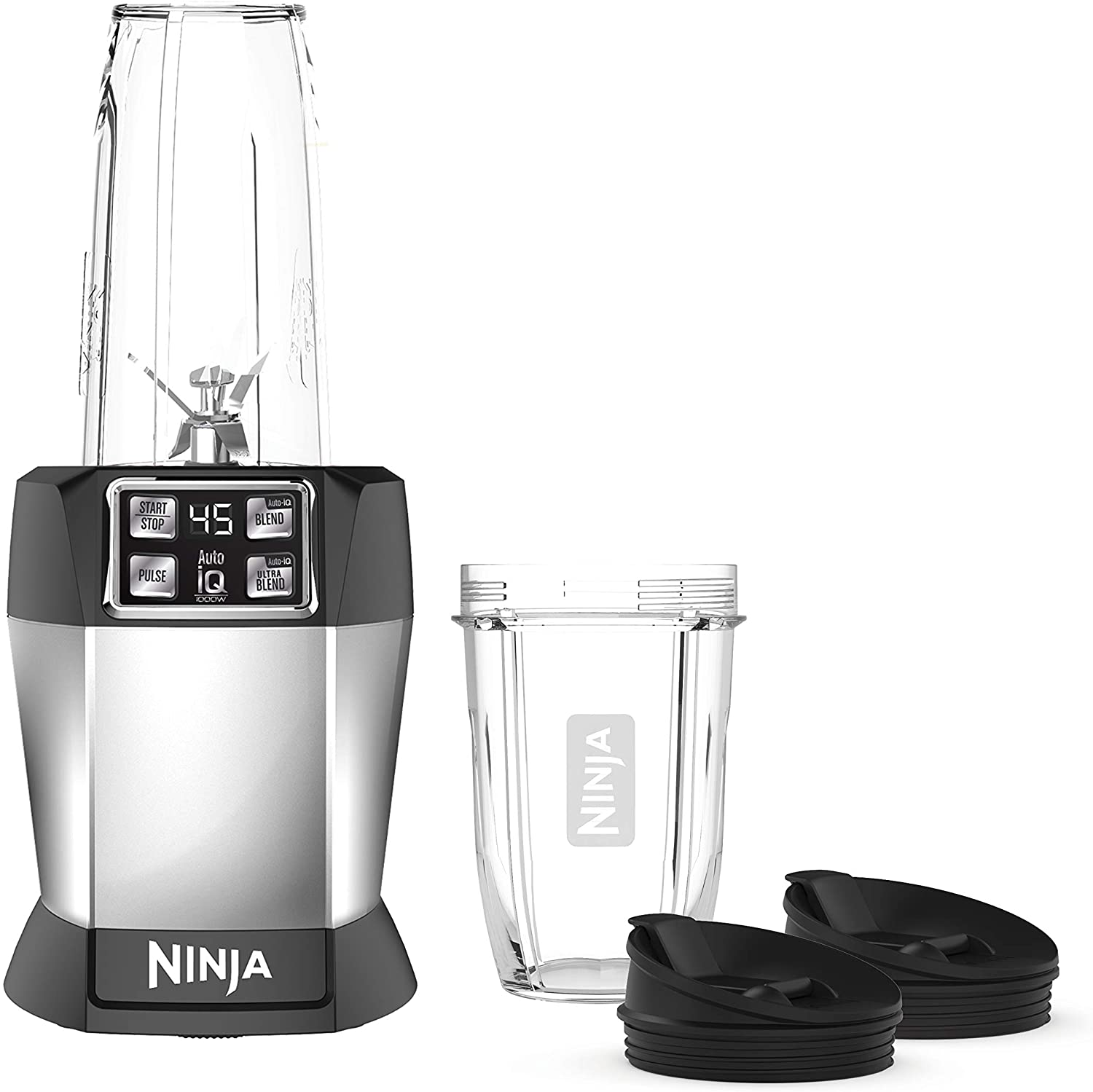Ninja BL480D Nutri 1000 Watt Auto-IQ Base for Juices, Shakes & Smoothies Personal Blender, 18 and 24 Oz, Black/Silver