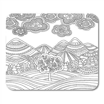 Boszina Mouse Per Pagina Da Colorare Per Adulti Con Paesaggio Di Montagna Foresta Alberi Nuvole Schizzo