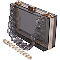 Transparent Clear Acrylic Square jelly Evening Bag for Women,Fashion Lovely Shoulder Bag for Dinner Party Travel