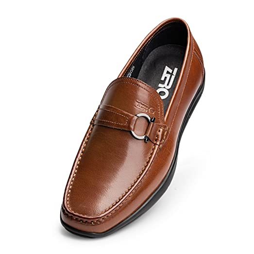 Men's Genuine Leather Dress Shoes Flats Buckle Slip-on