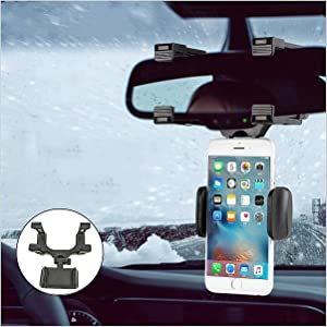 Car Phone Holder, Youtato Car Rearview Mirror Mount Holder 360° Rotation Adjustable Car Phone Mount for iPhone, Samsung Galaxy, Huawei, Fits Most Smartphone and Navigator Smaller Than 5 inch