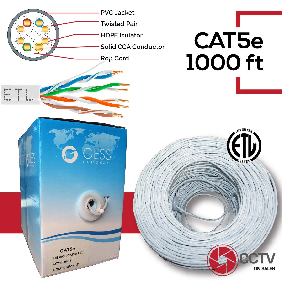 Cat5e 1000FT Ethernet UTP Cable Network 24AWG RJ45 Solid CCA CMR Rated in-Wall Installations Pass Fluke 230FT Test Pull Box White ETL Listed
