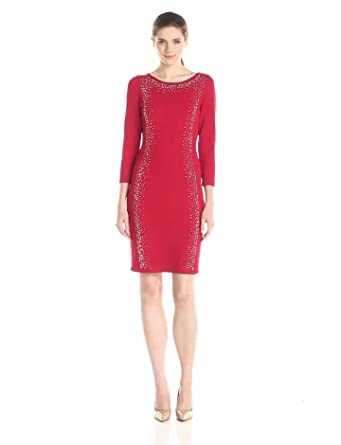 038fbb79714 Calvin Klein Women s 3 4 Sleeve Sweater Dress with Embellished Detail