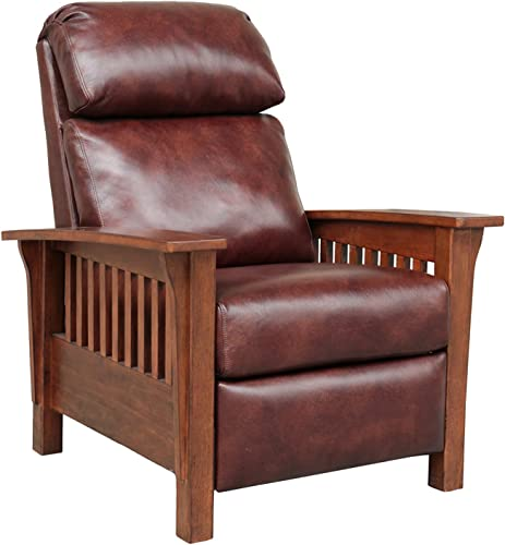 Barcalounger Mission 7-3323 Craftsman All Leather Push Back Manual Recliner Chair