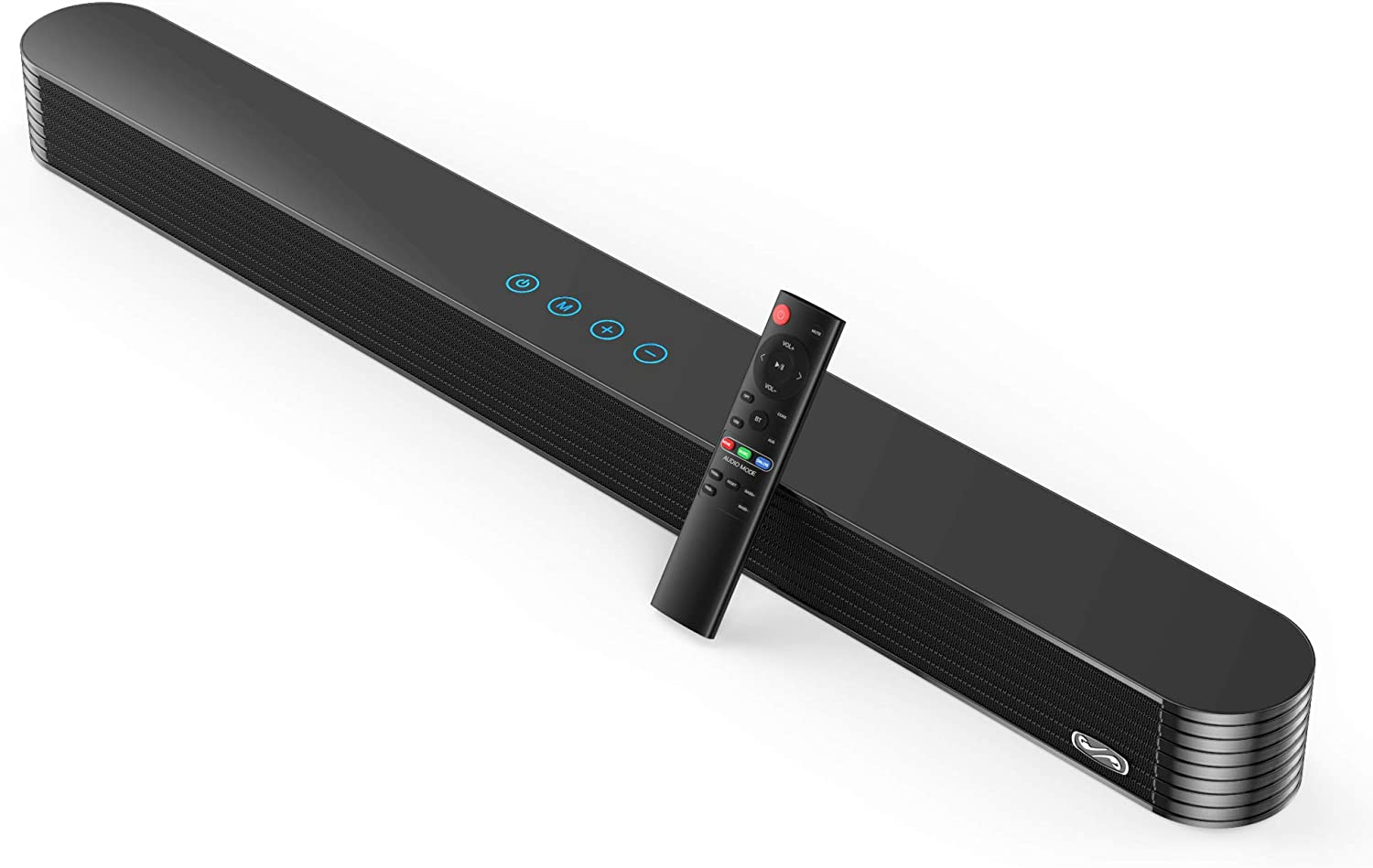 This is an image of a soundbar with a remote control next to it.