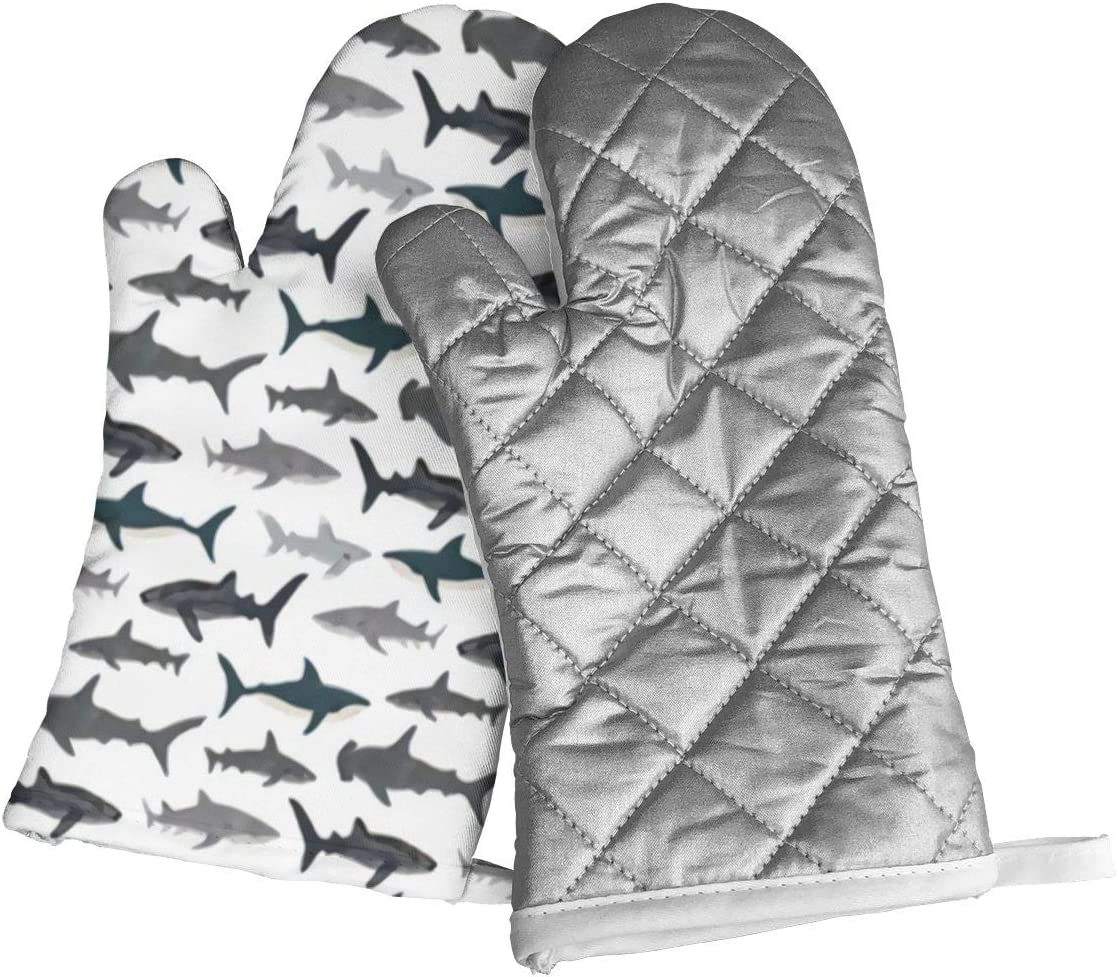 not Sharks Nautical Boys Oven Mitts with Polyester Fabric Printed Pattern,1 Pair of Heat Resistant Oven Gloves for Cooking,Baking,Grilling,Barbecue Potholders