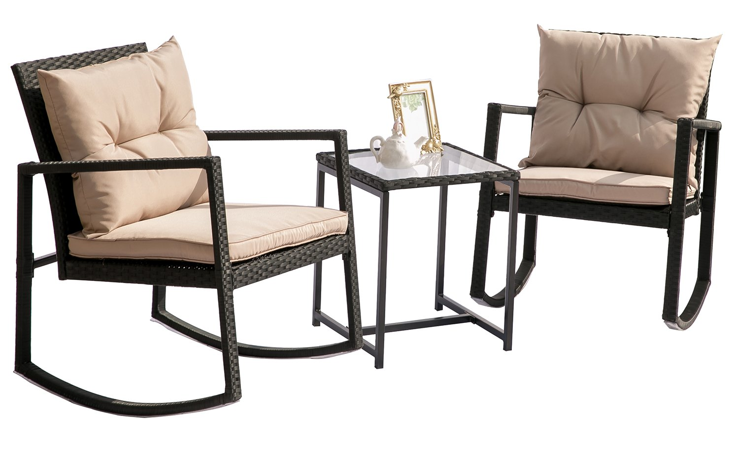 Hq Outdoor Rocking Rattan Bistro Set: 3-Piece Wicker Furniture - Two Chairs with Glass Coffee Table (Brown Cushion)