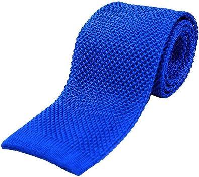 David Van Hagen Corbata azul real del llano de seda hecho punto ...