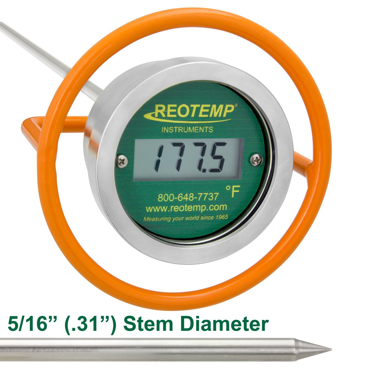 REOTEMP Heavy Duty Digital Compost Thermometer - Fahrenheit (36 Inch Stem)