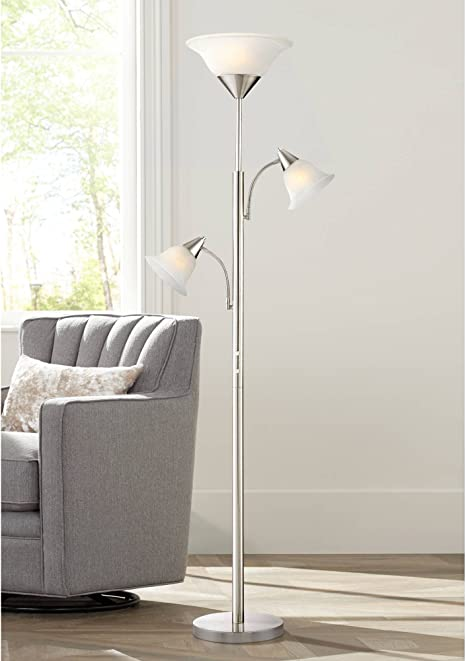 Jordan Modern Contemporary Tall Torchiere Floor Lamp Tree 3 Light Brushed Nickel Silver Alabaster Glass Shades For Living Room Reading House Bedroom Home Decor Office Uplight 360 Lighting Amazon Com