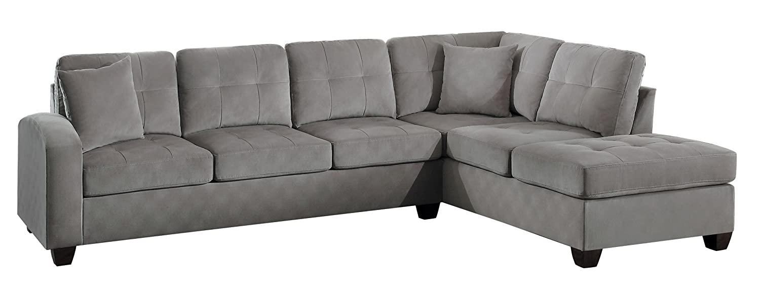 Amazon.com: Homelegance Sectional Sofa Polyester With Reversible Chaise And  Two Toss Pillows, Taupe: Kitchen U0026 Dining