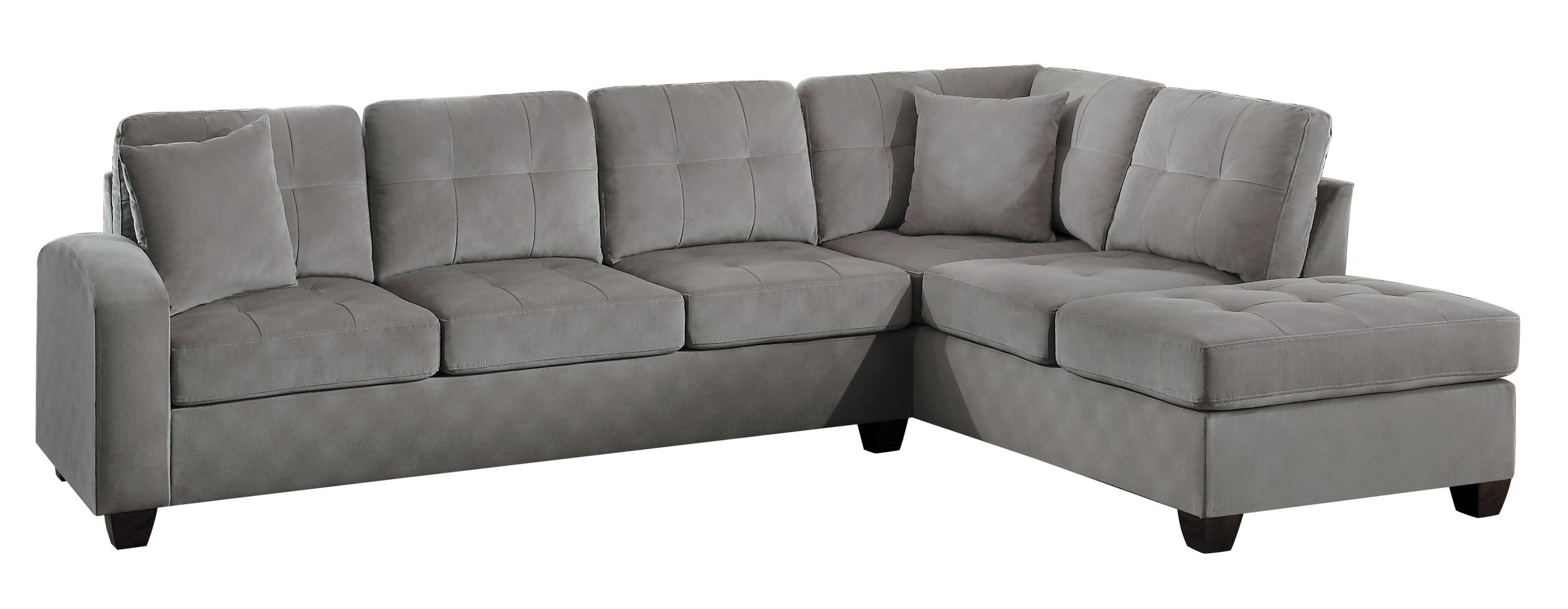 Homelegance Sectional Sofa Polyester With Reversible Chaise and Two Toss Pillows, Taupe