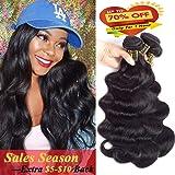 QTHAIR 10a Brazilian Deep Wave Human Hair Brazilian Hair Bundles Weave Hair Human Bundles 10a Brazilian Virgin Hair For African Americans Women 3 Bundles Total 300g/10.5oz Inch