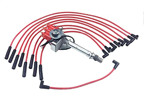 A-Team Performance Ready 2 Run R2R Small Red Cap Distributor Coil and Red  8mm Spark Plug Wires Set Under The Exhaust Kit Compatible with SBC Small