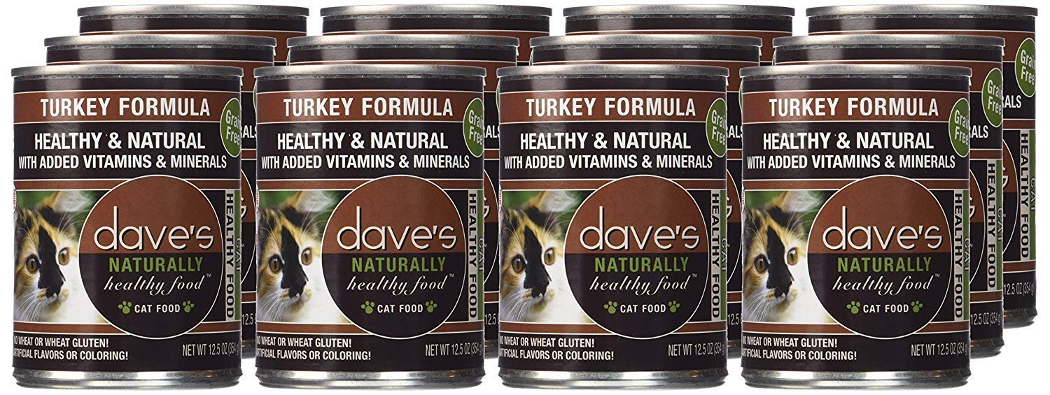 12.5 oz Can (Case of 12) Dave's Naturally Healthy Turkey Formula For cats, 12.5 oz Can (Case of 12)