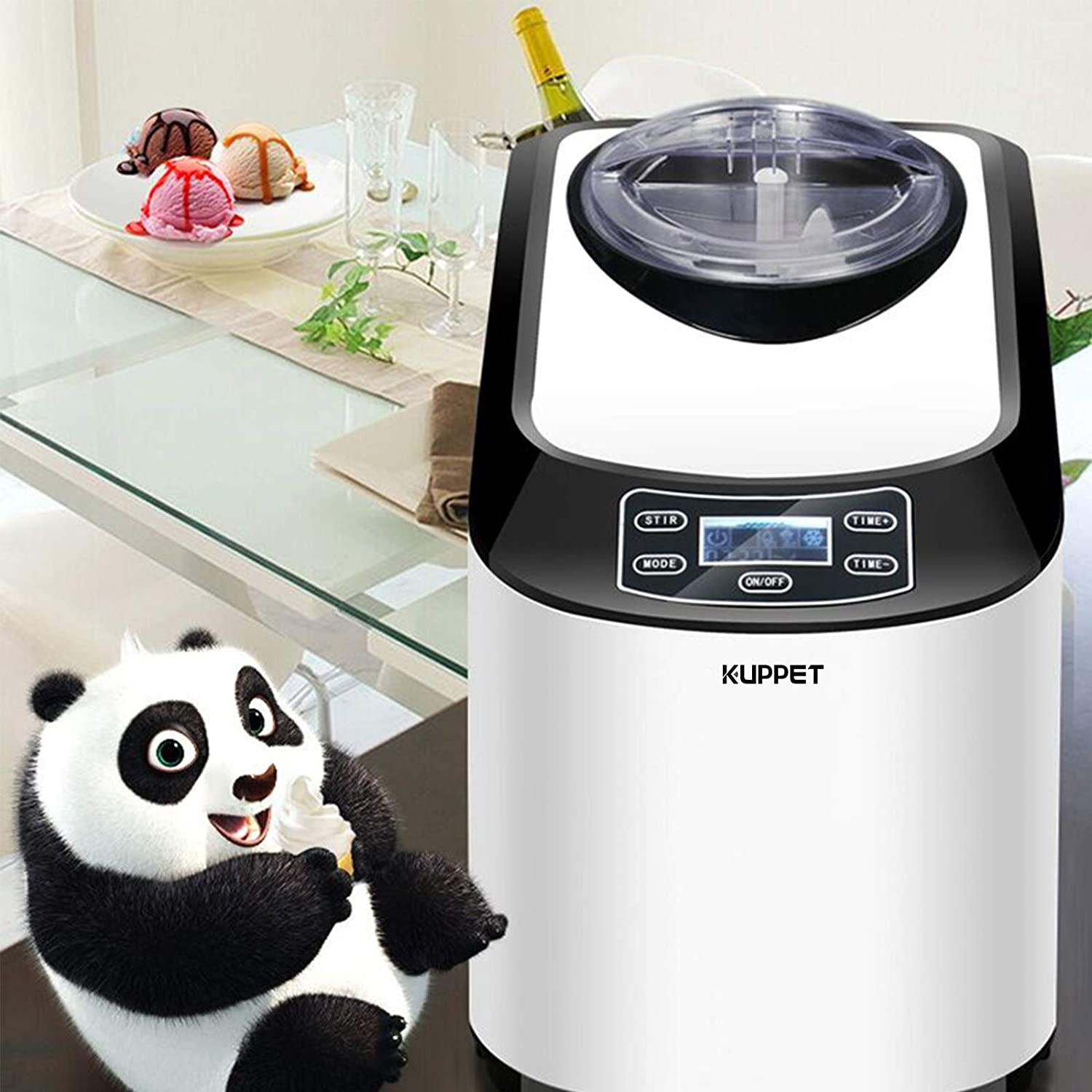 Auto Shut-off Timer Function KUPPET Ice Cream Maker Electric Programmable LCD Display Screen Countertop Easy Clean Interior Ice Cream Machine 1.6 Quart Automatic Ice Cream Machine