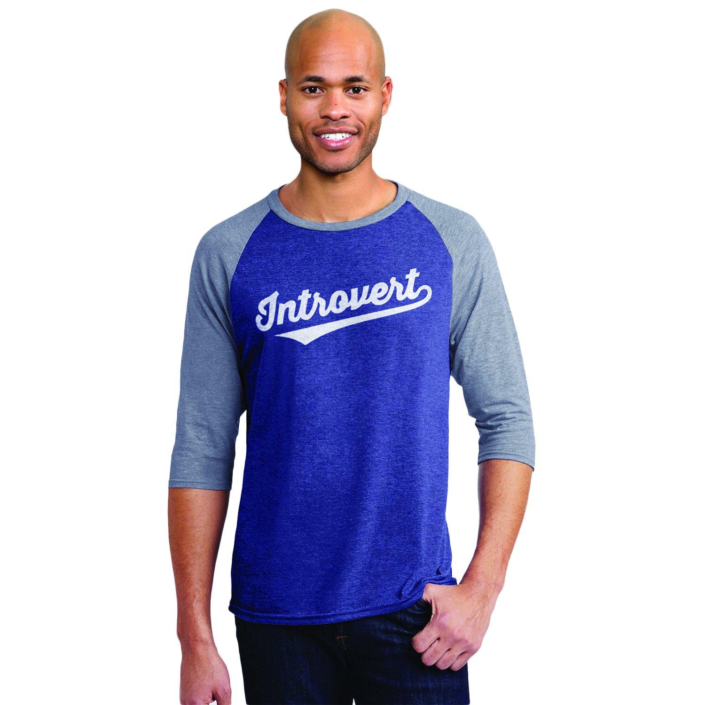 34575dc0 Amazon.com: Headline Shirts Introvert Funny Graphic Screen Printed Crewneck  Raglan Baseball T-Shirt for Men: Clothing