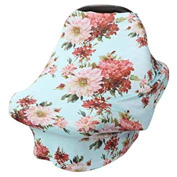 Infant Carrier Cover for Boys and Girls Stretchy Baby Car Seat Cover Canopy with Matching Hat Soft Nursing Cover Breastfeeding Scarf Black and White Stripe